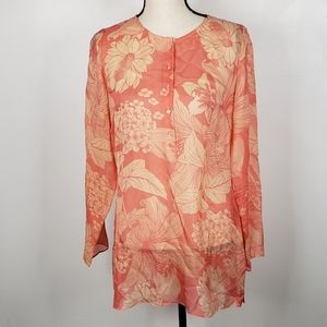 Brooks Brothers Coral Peach Floral Silk Blouse M